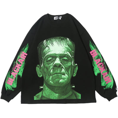 Creepy Frankenstein horror print long-sleeved thin sweatshirt