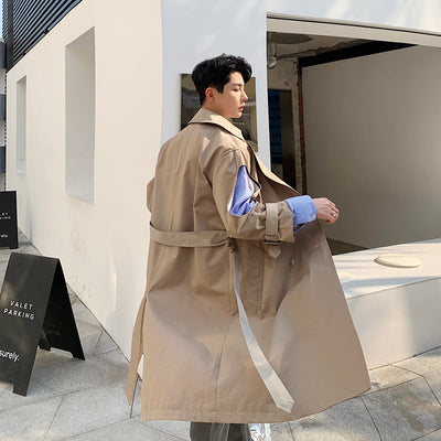 Mid-length unusual color sleeves stitching trench coat Mac jacket