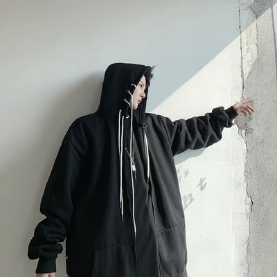 Multi string and hoops finish loose fit hoodie