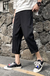 straight fit thin slightly loose fit cropped casual pants in 2 colors