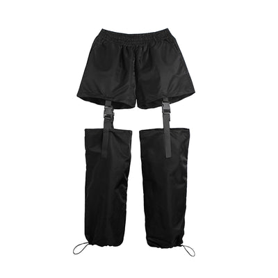Mid waist split buckle finish overalls stitched loose beam adjustable casual pants