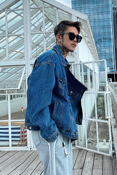 denim stitching loose leather jacket