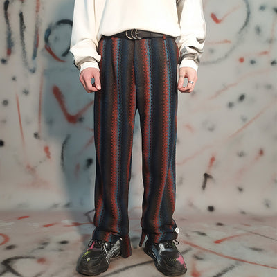 Retro nostalgic color striped loose casual pants men's fashionable straight trousers