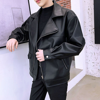 loose fit PU leather biker jacket