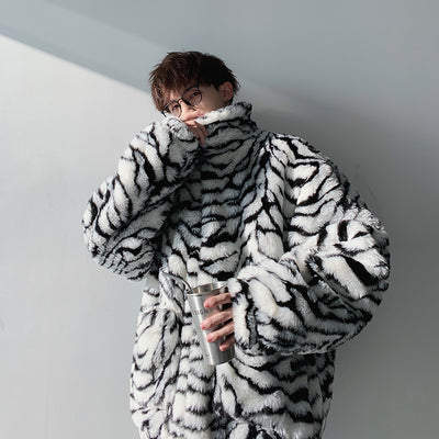 South Korea ulzzang zebra pattern cotton coat
