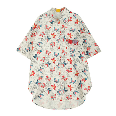 loose  butterfly printed short-sleeved shirt