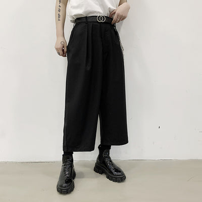 Wide Leg Straight Loose fit Metal Chain Decoration Casual Pants