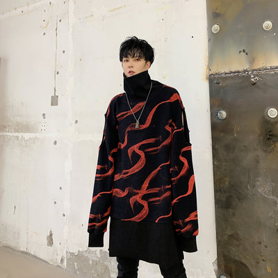 dark long turtleneck loose Men sweater