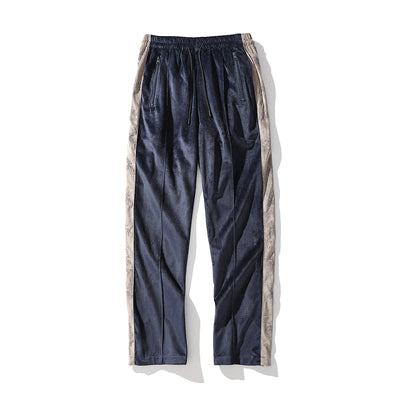 rhinestone velvet straight trousers