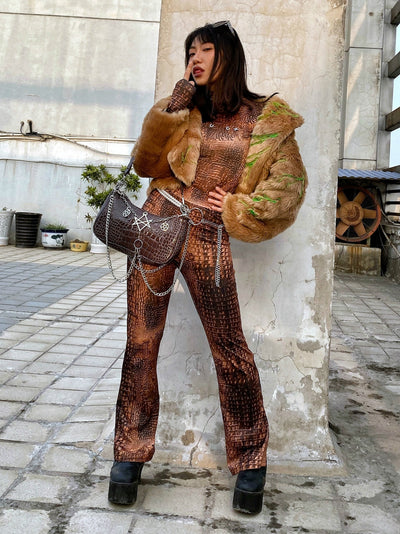 Lizard snake pattern high waist straight fit snake joggers Girl casual pants