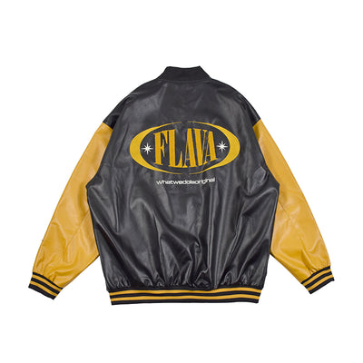 letter logo casual long sleeve loose leather jacket