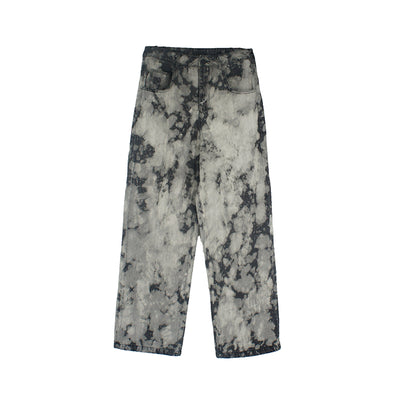 High waist loose straight Distressed Retro Tie-Dye Men Jeans