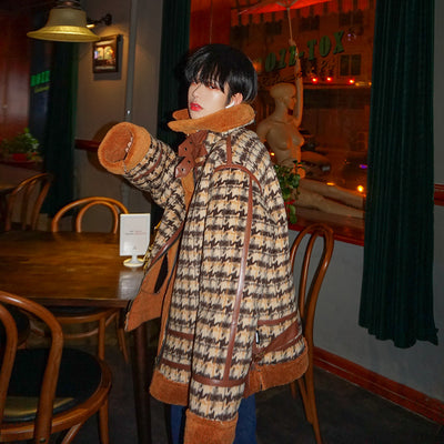 plaid fake fur lambskin plaid houndstooth check dog-tooth jacket in 2 colors