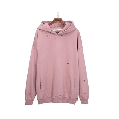 Loose fit distressed hole ripped pullover Korean skater hoodie in 2 colors