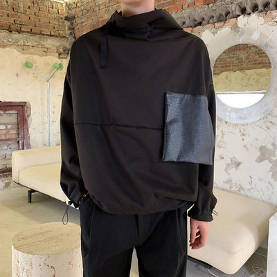 Stand collar stitched pocket loose pullover  hoodie