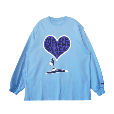love letter printed loose long sleeve T-shirt