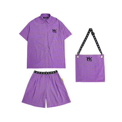 strapless shirt, letter web shorts and bag