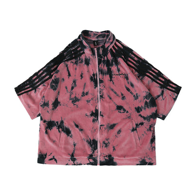 short-sleeved two-piece velour set shorts & zip up jumper tie-dye gradient velvet suit