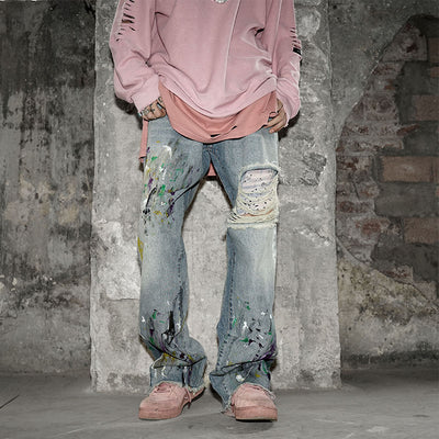 regular denim casual low-waist loose ripped jeans