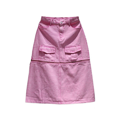 pink washing heavy design high waist a-line skirt