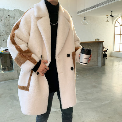 Thick fleece loose fit long length fake fur contrast color Trench jacket