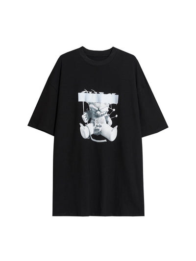 reflective bear printed loose short-sleeved T-shirt