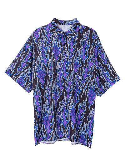 Retro flame print short-sleeved shirt in 3 colors