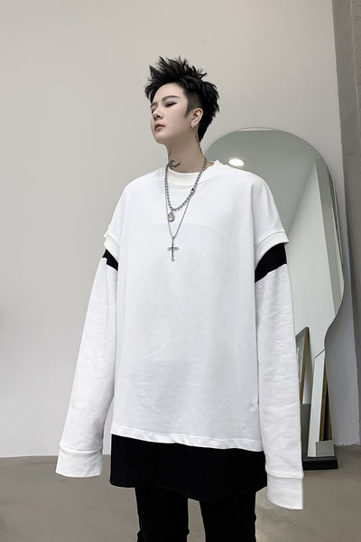 Two color stitched loose fit round neck sweatshirt