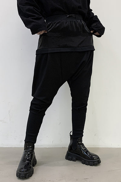Stitched drop crotch double layered harem casual pants