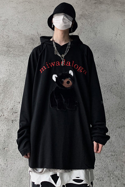 cartoon embroidery hooded casual pullover sweater