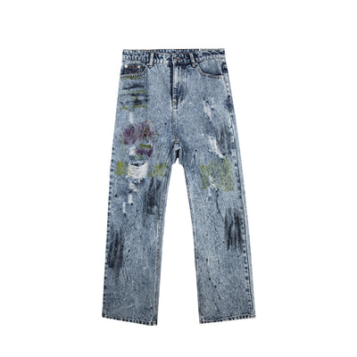 Loose straight fit painted denim in blue