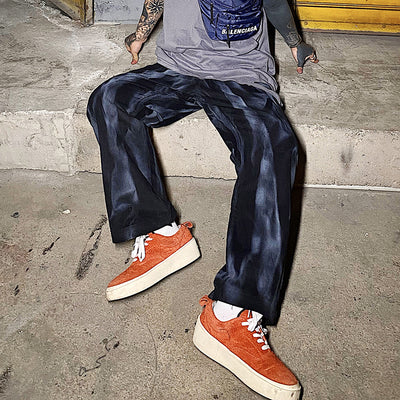 Dirty wash made to look old retro tie-dye loose fit casual pants