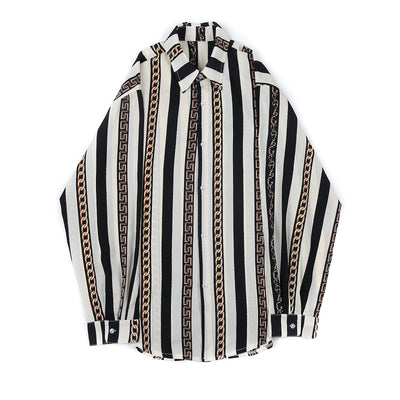baroque print finish multi stripe loose fit shirt in black