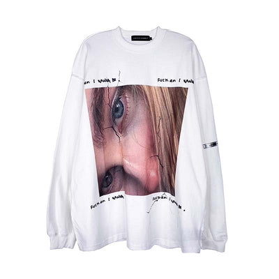 portrait round neck loose T-shirt