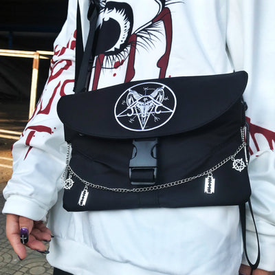 Dark Gothic Rock Pentagram Chain Pendant Funeral Cross Envelope small Bag