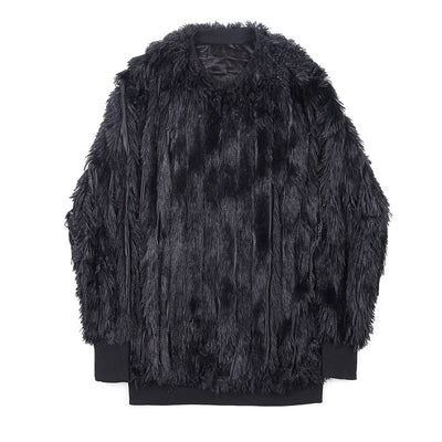 dark retro tassel thickened plush fluffy fake fur Men jacket