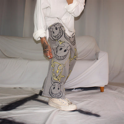 hand-painted emoji graffiti retro old distressed evil smiley straight fit jeans