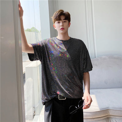 Summer shiny short-sleeved T-shirt