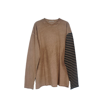 Round neck asymmetric print long sleeve T-Shirt Distressed oversize thin sweatshirt