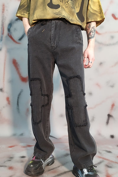 Knee Patch Fleece Loose Washed straight fit Jeans