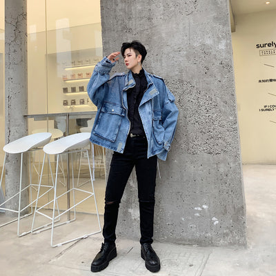 Multi pocket raised neck boxy fit Korean skater washed out denim jacket in blue