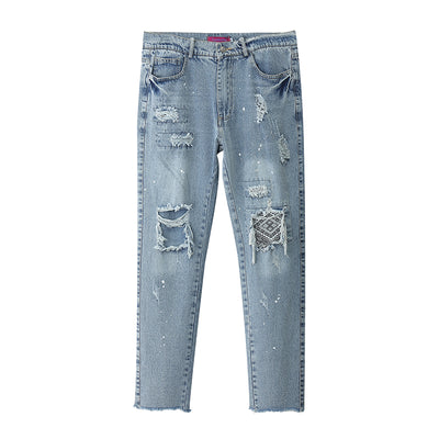 washed regular denim straight slim-fit jeans