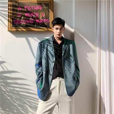 Gradient luminous shining party blazer jacket in teal