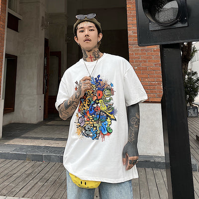 Loose fit adult cartoon graffiti short sleeve T-shirt