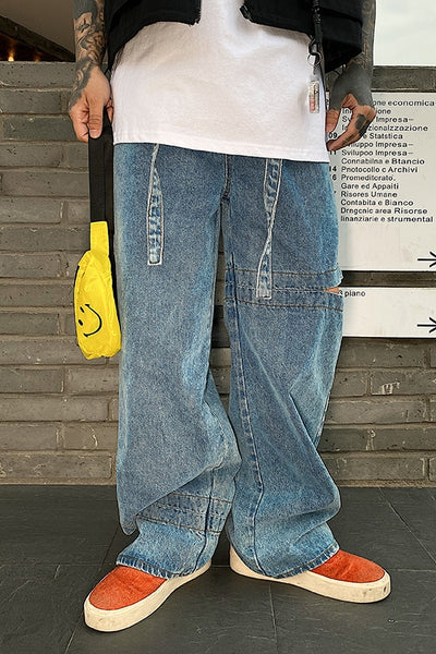 Retro Wash Loose straight fit overalls Korean skater jeans