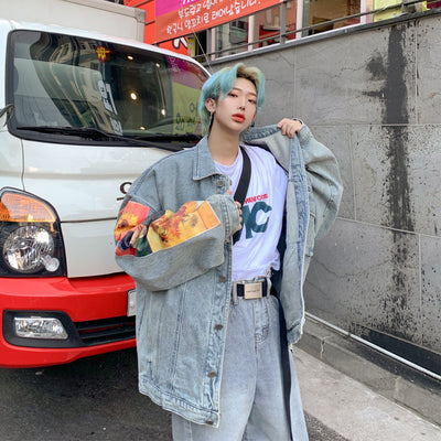 Sunflower sleeve daisy printed unusual Korean skater denim jacket