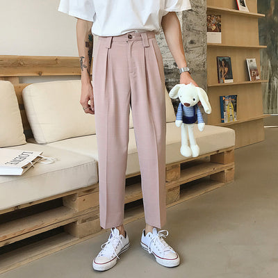 draped straight wide leg low waist straight fit plaid check casual pants in 2 colors