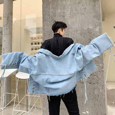 Rope edging raw finish irregular oversize cropped denim jacket