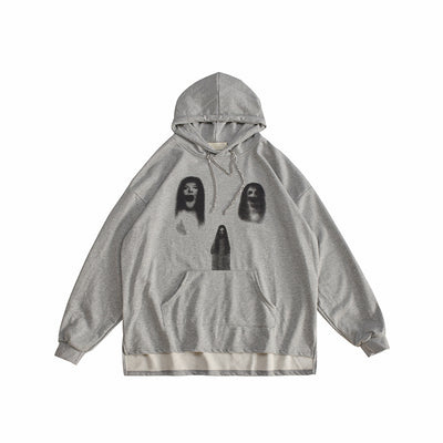 Ghost print creepy pullover paranormal graphic hoodie