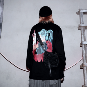 long-sleeved oversize two-dimensional comic printed Sweatshirt